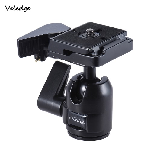 Veledge Pro Aluminum Alloy Photography Panoramic Ball Head Ballhead w/ Quick Release Plate Base 1/4