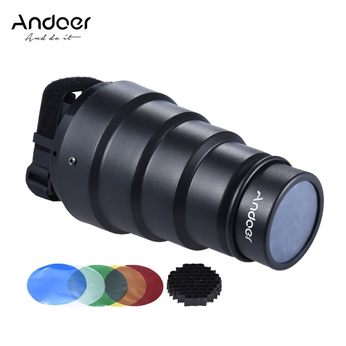 Andoer Conical Snoot Light Modifier w/ 50 Degree Honeycomb Color Filter for Neewer Canon Nikon Yongnuo Godox  Meike Vivitar Photography On-camera Speedlite Speedlight