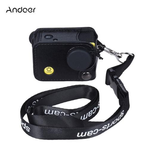 AndoerクリップオンブラックスポーツカメラProtecive Andoer Q3H / Q3または同一サイズのアクションカム用のネックストラップ&レンズキャップとハンギングケース袋を運びます