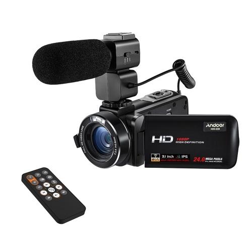 """Andoer HDV-Z20 1080P Full HD 24MP WiFi caméra vidéo numérique caméscope avec Microphone Externe 3.0 """"Rotatif LCD Touchscreen Télécommande Support Lampe LED 16X Zoom Numérique"""