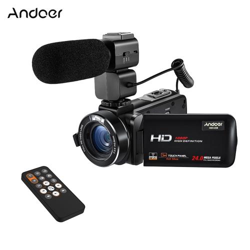 """Andoer HDV-Z20 1080PフルHD 24MP WiFiデジタルビデオカメラビデオカメラ(外部マイク付き)3.0 """"回転式LCDタッチスクリーンリモートコントロールサポートLEDランプ16倍デジタルズーム"""