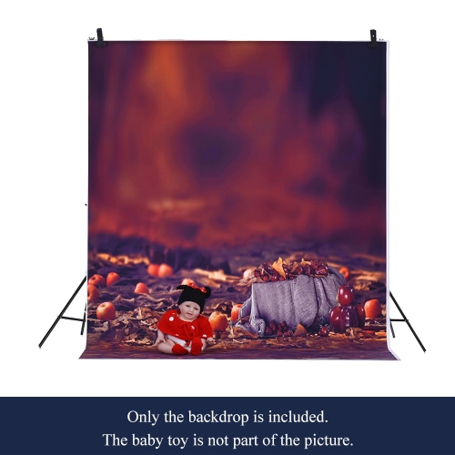1.5 * 2m Photography Backdrop Computer Printed Apple Fallen Leaves Pattern
