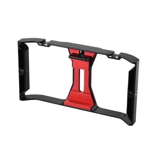 Ulanzi Handheld Smartphone Film Making Rig Poignée Stabilisateur Support de Support Cradle Téléphone Clip w / Deux Hot Shoe Mount pour Apple iPhone 7 / 7s / 6s / 6 pour Samsung Huawei Vidéo Photo Studio