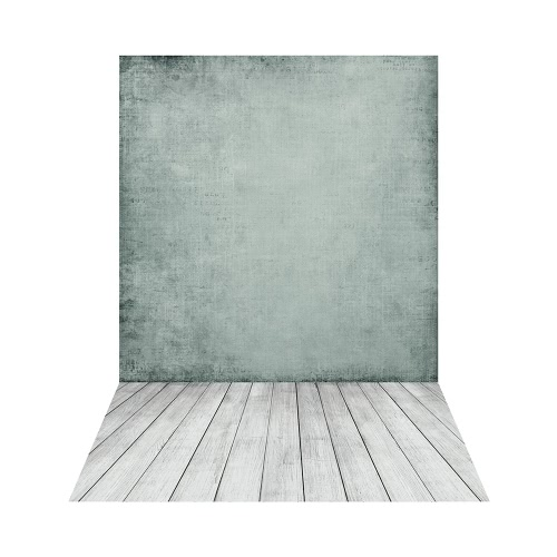 1.5 * 2.1m / 5 * 6.9ft Photographie backdrop Imprimé numérique vert Ciment mur Motif de plancher en bois pour les enfants Enfants bébé nouveau-né Portrait Studio Photography