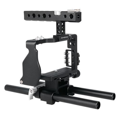 Andoer Professional Video Cage Rig Kit Film Making System mit 15mm Stange für Sony A6000 A6300 A6500 ILDC Spiegelkamera Camcorder