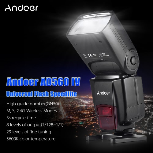 Andoer AD560 IV 2 4G Wireless Universal On-camera Slave Speedlite Flash  Light GN50 LCD Display for Canon Nikon Olympus Pentax for Sony A7/ A7 II/  A7S/