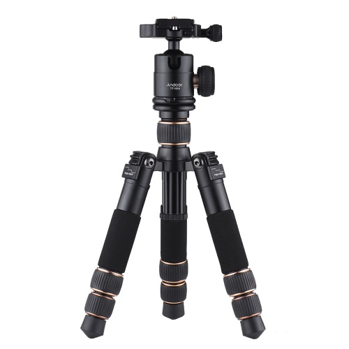 Andoer TP166A Portable Lightweight Aluminum Alloy Table Mini Tripod with Ball Head Kit 3-Section Adjustable Height Fold Only 21cm for Canon Nikon Sony Camera DV Camcorder Max Load Capacity 5kg