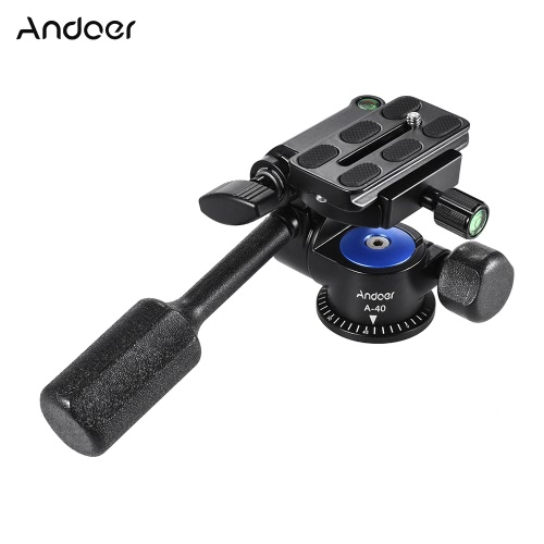 Andoer A-40 3 Way Camera Video Head Aluminum Alloy 360° Panoramic Photographic Damping Head for Canon Nikon Sony for Tripod Monopod Slider Max. Load 5kg/11Lbs