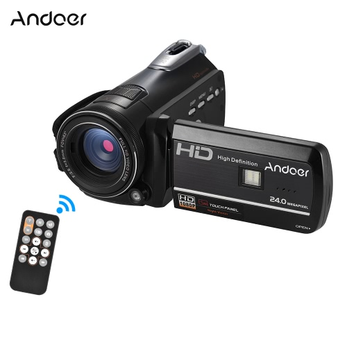 """Andoer HDV-D395 Cámara de vídeo digital DV WiFi 1080P 30fps FHD 24M 18X Zoom Videocámara con control remoto / infrarrojos de infrarrojos de visión nocturna + LED Light / 3 """"de pantalla táctil de apoyo a la cara Detect / Anti-Shake"""