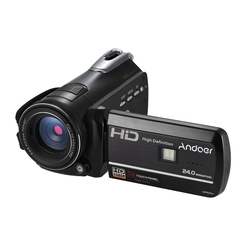 "Andoer HDV-D395 Caméra vidéo numérique DV WiFi 1080P 30 fps FHD 24M Caméscope zoom 18X avec télécommande / infrarouge Vision nocturne infrarouge + lampe LED / 3 ""écran tactile Suppression de visage / anti-agitation"