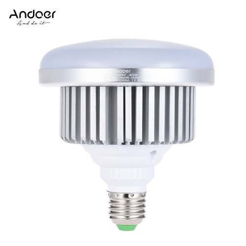 Andoer E27 40W Energy Saving LED Bulb 3200K Yellow Warm Light Lamp for Photo Studio Video Home Commercial Lighting