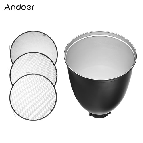 Andoer 45 Degree 11-Inch Bowens S-Type Mount Reflector Diffuser Shade Lamp Shade with 10° 30° 50° Honeycomb Grid for Bowens Mount Studio Strobe Flash Light Speedlite