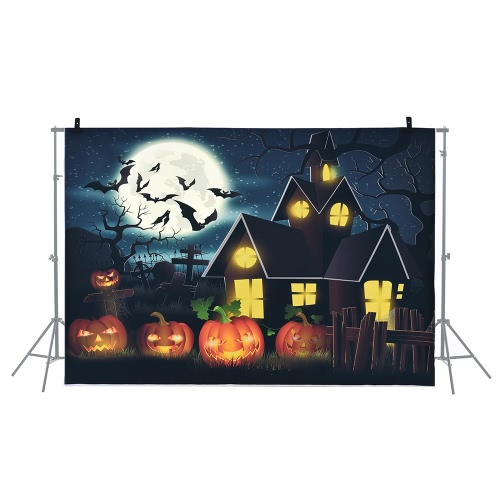 6.9 * 5ft/2.1 * 1.5m Halloween Backdrop Photography Background Decoration Pumpkin Pattern for DSLR Camera Photo Studio