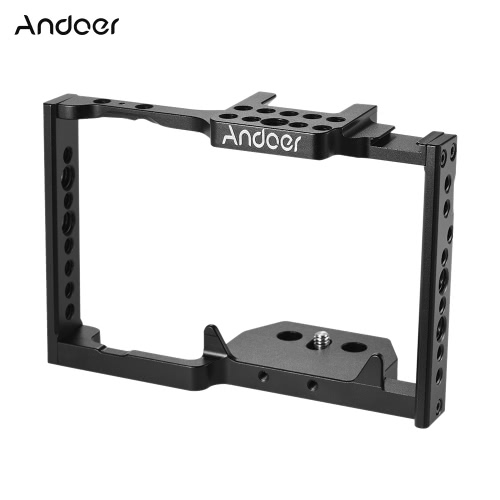 Andoer Aluminum Alloy Camera Cage Video Film Movie Making Stabilizer with Cold Shoe Mount for Panasonic GH5 Camera