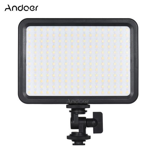Andoer LED204 LED Video Light Fill Light with 204pcs Lamp Beads Stepless Dimming 3300K-5600K Bi-Color Temperature CRI90 for Wedding Photography Product Shooting Live Stream Micro Film News Interview