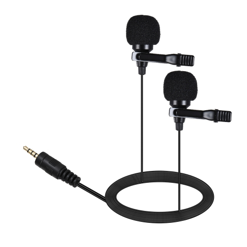 ARIMIC Dual-Headed Lavalier Lapel Clip-on Omnidirectional Condenser Microphone