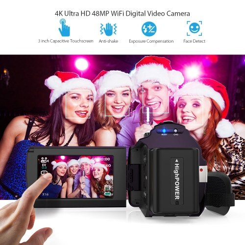 Andoer 4K Camcorder 1080P 48MP WiFi Digital Video Camera Recorder with 2pcs Rechargeable Batteries Novatek 96660 Chip 3inch Touchscreen Night Sight 16X Zoom Cold Shoe Support External Microphone