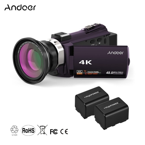 Andoer 4K Camcorder 1080P 48MP WiFi Digital Video Camera Recorder with 2pcs Rechargeable Batteries + 0.39X Wide Angle Macro Lens Novatek 3inch Touchscreen Night Sight Support External Microphone