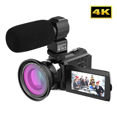 Andoer 4K Camcorder 1080P 48MP WiFi Digital Video Camera Recorder with 2pcs Rechargeable Batteries + 0.39X Wide Angle Macro Lens + External Microphone 3inch Capacitive Touchscreen Night Sight