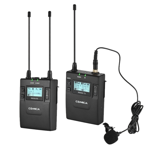 CoMica CVM-WM300(C) UHF 96-Channel Zinc Alloy Rechargeable Wireless Lavalier Microphone Transmitter + Receiver System