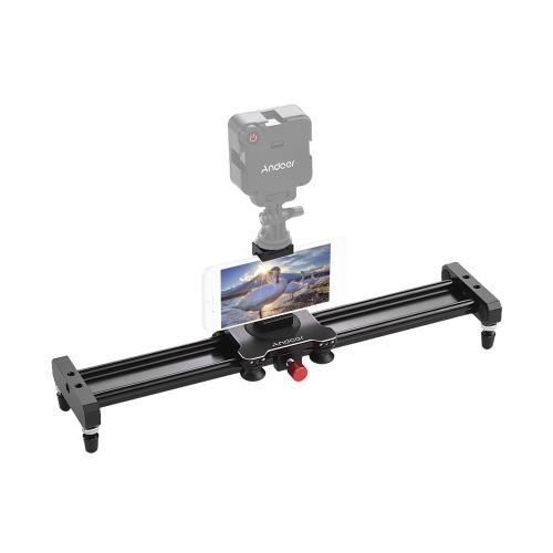 Andoer 40cm / 15.7inch Aleación de aluminio de la cámara Video Slider Track Rail Stabilizer con teléfono Trípode de montaje