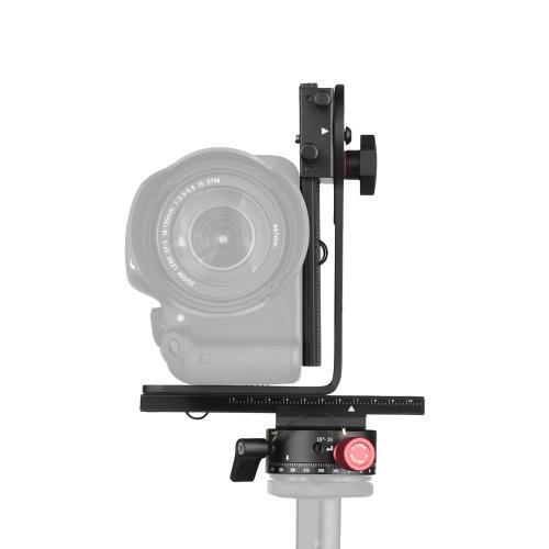 Cabezal panorámico Andoer de 720 grados, que incluye rotador giratorio de indexación giratorio de 360 ° + deslizador de riel de 2 vías + kit de soporte en L