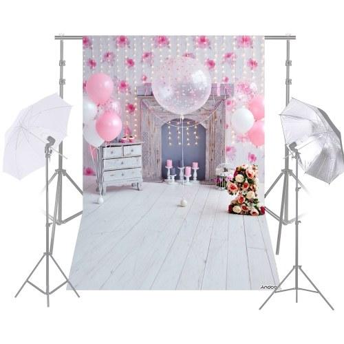 Andoer 1.5 * 2.1m / 5 * 7ft誕生日パーティーの写真の背景ピンクバルーン電球花の暖炉のウッドフロアの子供たち赤ちゃんの背景写真スタジオプロ