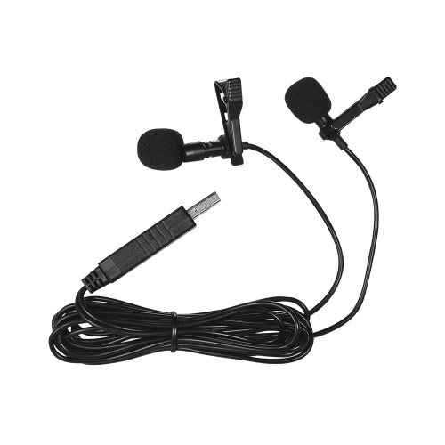 Andoer 1.5m / 5ft USB Dual-Kopf Lavalier Ansteckmikrofon Clip-on Omnidirektionale Computer Mic für Windows Mac Video Audio-Aufnahme