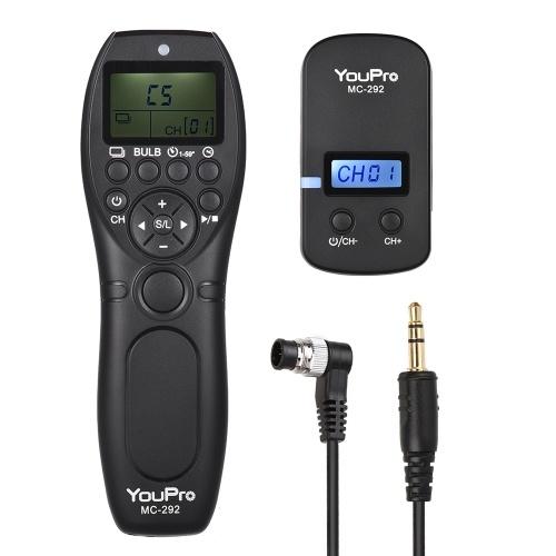 YouPro MC-292 DC0 2.4G Wireless Remote Control LCD Timer Shutter Release Transmitter Receiver 32 Channels for Nikon D5 D4S D4 D3S D3 D2 D1 D800 D810 D810A D800E D700 D300S D300 D500 for Fujifilm Kodak DSLR Camera
