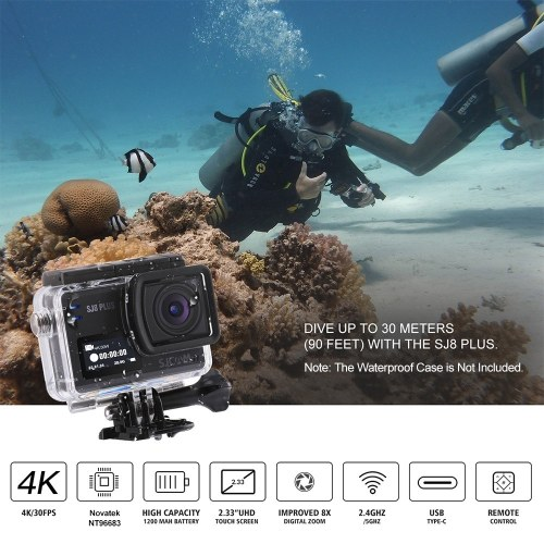 SJCAM SJ8 PLUS Action Camera 4K/30FPS 12MP Sports Cam with EIS 170°Wide Angle Lens 2.33 Inch Touch Screen 1200mAh Battery