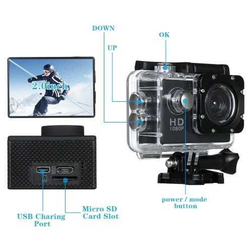 Basic Action Camera 30M Waterproof Underwater Sport Cameras 720P Deportiva Sport DV Camcorder (Camera +waterproof case)