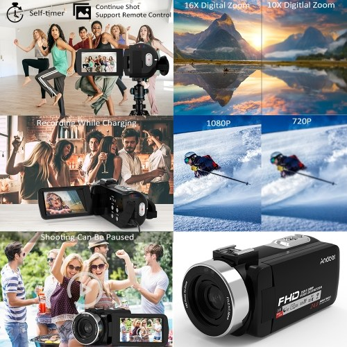 Andoer 1080P HD WiFi Digital Video Camera Camcorder DV Recorder 16X Zoom 3 0