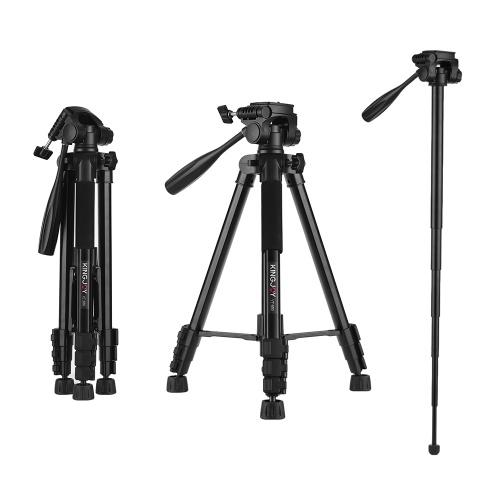 KINGJOY VT-880 2 em 1 portátil monopé tripé de câmera de liga de alumínio ajustável 360 ° tiro panorâmico para canon nikon sony fuji filmadora câmera de ação gopro hero