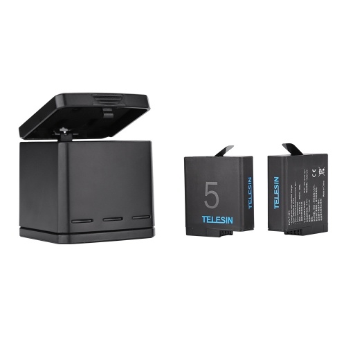 Kit di ricarica della batteria del caricabatterie triplo ricaricabile TELESIN