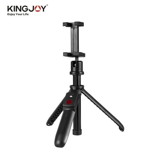 KINGJOY 2 In 1 Multifunctional Selfie Stick Mini Tripod with BT Remote Control Adjustable Phone Clip Clamp Mini Ballhead for iPhone X/XS/8P Samsung Huawei Smartphone Cellphone Portable