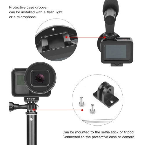 SHOOT XTGP507B CNC Aluminum Alloy Protective Camera Case Action Camera Cage  Mount with 52mm UV Lens Backdoor for GoPro Hero 7 Black/Hero 6/Hero 5