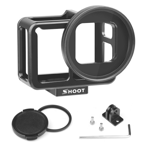 SHOOT XTGP507B CNC Aluminum Alloy Protective Camera Case Action Camera Cage Mount with 52mm UV Lens Backdoor for GoPro Hero 7 Black/Hero 6/Hero 5 Action Camera D6491