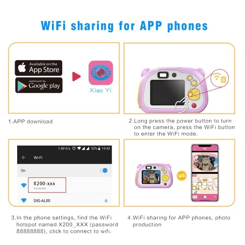 Andoer WiFi Kids Camera 1080P HD Children Digital Cameras Rechargeable Mini Video Toy Camera with Dual Lens Toddler Cameras 2 Inch LCD Display Auto Focus WiFi Share for Boys and Girls Holiday Gifts