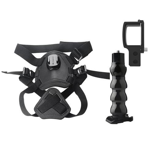 Comfortable Dog Harness Chest Strap Mount + Flexible Bracket Stand + Camera Holder Kit
