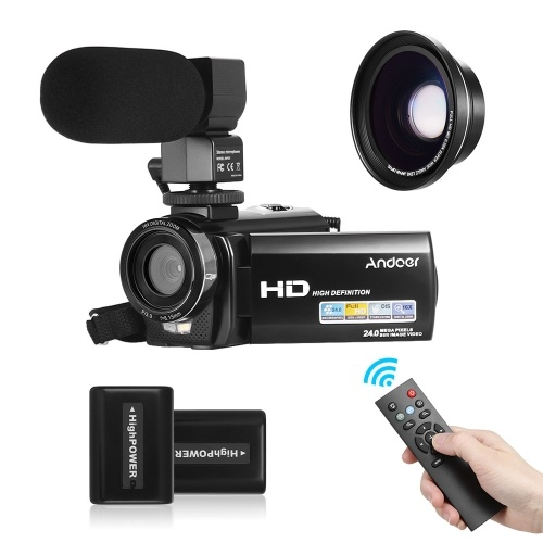 Andoer HDV-201LM 1080P FHD Digital Video Camera Camcorder DV Recorder 24MP 16X Digital Zoom 3.0 Inch LCD Screen with 2pcs Rechargeable Batteries + Extra 0.39X Wide Angle Lens + External Microphone