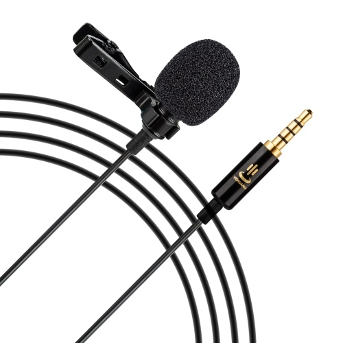 Andoer Professional Omni-directional Clip-on Lavalier Microphone Mic Cable Length 6M with 3.5mm Jack Adapter Windscreen for iPhone 6/6P Samsung Huawei Smartphone Tablet Laptop for Canon Sony Nikon Cameras Camcorders DV DSLR for Studio Interview Recording