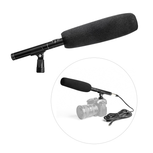 Andoer Professional Aluminium Alloy Condenser Shotgun Microphone Video Camera Mic Super Cardioid Pattern with Shock Mount XLR 3.5mm Cable for Video Conference Windscreen Interview Podcast Film Recording for Canon Sony Nikon Cameras