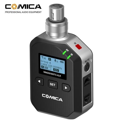 CoMica WM200 / 300-XLR Microphone sans fil à interface UHF Canon à 96 canaux en métal