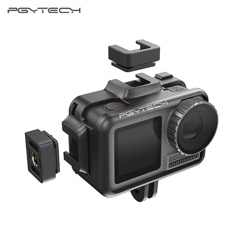 PGYTECH Camera Cage for DJI OSMO Action Camera Protective Housing Case Frame Cover Shell 2 Cold Shoe Mounts & Universal Interface Vlog Expansion Accessory for Microphone LED Video Light Tripod
