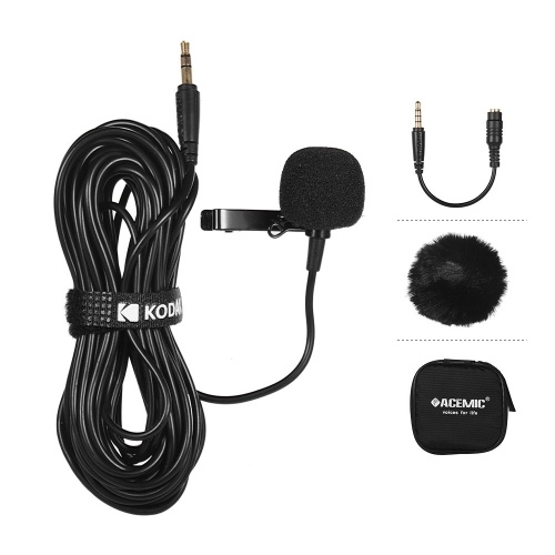 ACEMIC Single Head Lavalier Microphone Mic Lapel Clip-on Omni-directional Condenser