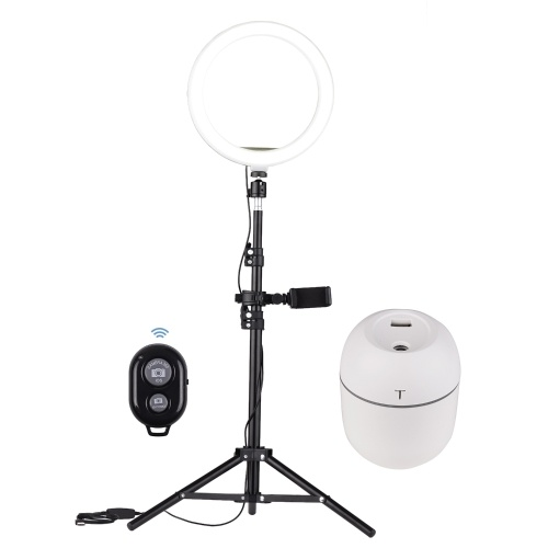 Andoer 10 Inch LED Video Ring Light Photography Lamp 3 Lighting Modes 3200-5600K Dimmable USB Powered with Phone Holder Ballhead Adapter Metal Light Stand Mini Humidifier Remote Control for YouTube Live Video Recording Network Broadcast Selfie Makeup
