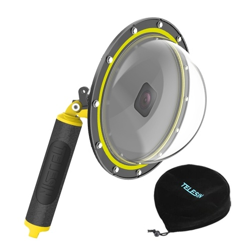 TELESIN 6inch Dome Port Dive Case Underwater 30m with Floating Shank