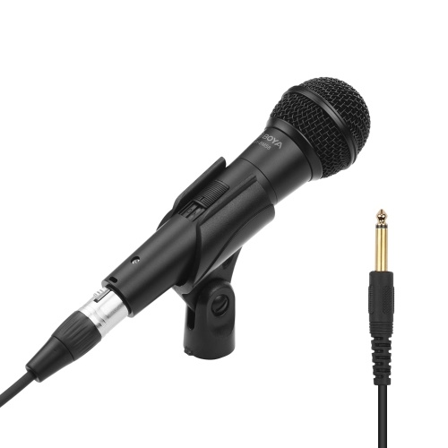 BOYA Cardioid Dynamic Vocal Microphone für Karaoke Singing Stage-Probe mit 5,0 m XLR-Kabel