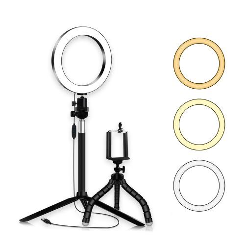 20cm / 8inch LED Ringlicht 3 Farben 3500-6500K Temperatur 10 Stufen Dimmbar