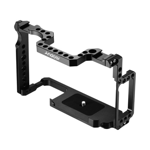 Andoer Camera Cage Aluminum Alloy with 1/4 Inch & 3/8 Inch Screw Holes Dual Cold Shoe Mount Compatible with Canon 5DS 5DR 5D Mark IV/III/II
